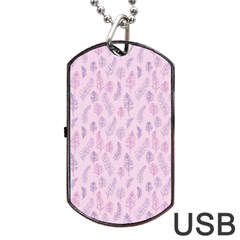 Whimsical Feather Pattern, Pink & Purple, Dog Tag Usb Flash (one Side) by Zandiepants