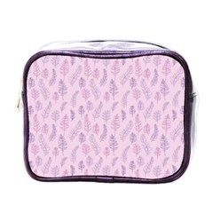 Whimsical Feather Pattern, Pink & Purple, Mini Toiletries Bag (one Side) by Zandiepants