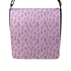 Whimsical Feather Pattern, Pink & Purple, Flap Closure Messenger Bag (l) by Zandiepants