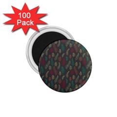 Whimsical Feather Pattern, Autumn Colors, 1 75  Magnet (100 Pack)  by Zandiepants