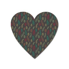 Whimsical Feather Pattern, Autumn Colors, Magnet (heart) by Zandiepants