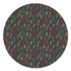Whimsical Feather Pattern, Autumn Colors, Magnet 5  (round) by Zandiepants