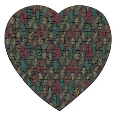 Whimsical Feather Pattern, Autumn Colors, Jigsaw Puzzle (heart) by Zandiepants
