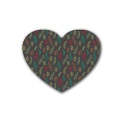 Whimsical Feather Pattern, Autumn Colors, Rubber Coaster (heart) by Zandiepants