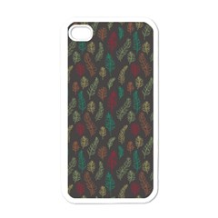 Whimsical Feather Pattern, Autumn Colors, Apple Iphone 4 Case (white) by Zandiepants