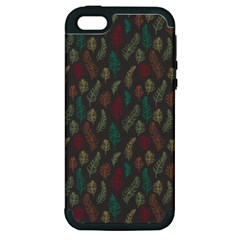 Whimsical Feather Pattern, Autumn Colors, Apple Iphone 5 Hardshell Case (pc+silicone) by Zandiepants