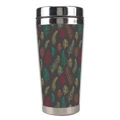 Whimsical Feather Pattern, Autumn Colors, Stainless Steel Travel Tumbler by Zandiepants