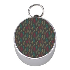 Whimsical Feather Pattern, Autumn Colors, Silver Compass (mini) by Zandiepants