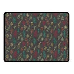Whimsical Feather Pattern, Autumn Colors, Double Sided Fleece Blanket (small) by Zandiepants