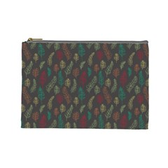 Whimsical Feather Pattern, Autumn Colors, Cosmetic Bag (large)