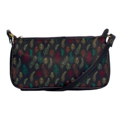 Whimsical Feather Pattern, Autumn Colors, Shoulder Clutch Bag by Zandiepants