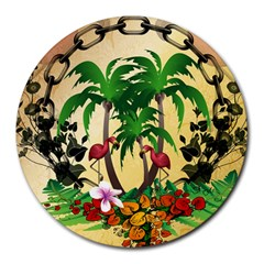 Tropical Design With Flamingo And Palm Tree Round Mousepads by FantasyWorld7