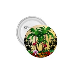 Tropical Design With Flamingo And Palm Tree 1 75  Buttons by FantasyWorld7