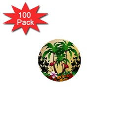 Tropical Design With Flamingo And Palm Tree 1  Mini Buttons (100 Pack)  by FantasyWorld7