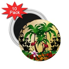 Tropical Design With Flamingo And Palm Tree 2 25  Magnets (10 Pack)  by FantasyWorld7