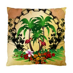 Tropical Design With Flamingo And Palm Tree Standard Cushion Case (one Side) by FantasyWorld7