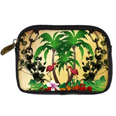 Tropical Design With Flamingo And Palm Tree Digital Camera Cases by FantasyWorld7