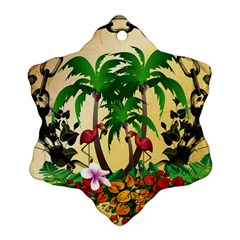 Tropical Design With Flamingo And Palm Tree Snowflake Ornament (2 Side) by FantasyWorld7