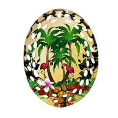 Tropical Design With Flamingo And Palm Tree Oval Filigree Ornament (2 Side)  by FantasyWorld7