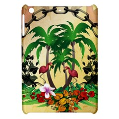 Tropical Design With Flamingo And Palm Tree Apple Ipad Mini Hardshell Case by FantasyWorld7