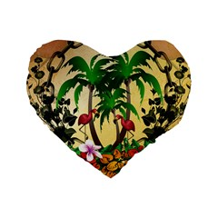 Tropical Design With Flamingo And Palm Tree Standard 16  Premium Flano Heart Shape Cushions by FantasyWorld7