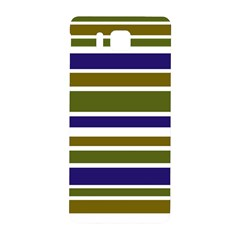 Olive Green Blue Stripes Pattern Samsung Galaxy Alpha Hardshell Back Case by BrightVibesDesign