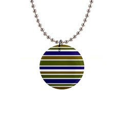 Olive Green Blue Stripes Pattern Button Necklaces by BrightVibesDesign