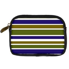 Olive Green Blue Stripes Pattern Digital Camera Cases by BrightVibesDesign