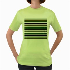 Olive Green Blue Stripes Pattern Women s Green T Shirt by BrightVibesDesign
