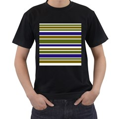 Olive Green Blue Stripes Pattern Men s T Shirt (black) (two Sided) by BrightVibesDesign