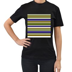 Olive Green Blue Stripes Pattern Women s T Shirt (black) (two Sided) by BrightVibesDesign