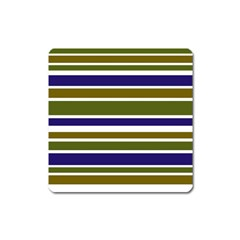 Olive Green Blue Stripes Pattern Square Magnet by BrightVibesDesign