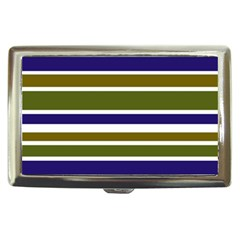 Olive Green Blue Stripes Pattern Cigarette Money Cases by BrightVibesDesign