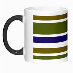 Olive Green Blue Stripes Pattern Morph Mugs by BrightVibesDesign