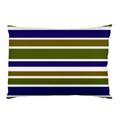 Olive Green Blue Stripes Pattern Pillow Case by BrightVibesDesign
