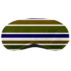 Olive Green Blue Stripes Pattern Sleeping Masks by BrightVibesDesign
