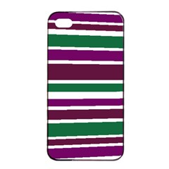 Purple Green Stripes Apple Iphone 4/4s Seamless Case (black) by BrightVibesDesign