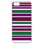 Purple Green Stripes Apple Seamless iPhone 5 Case (Clear) Front