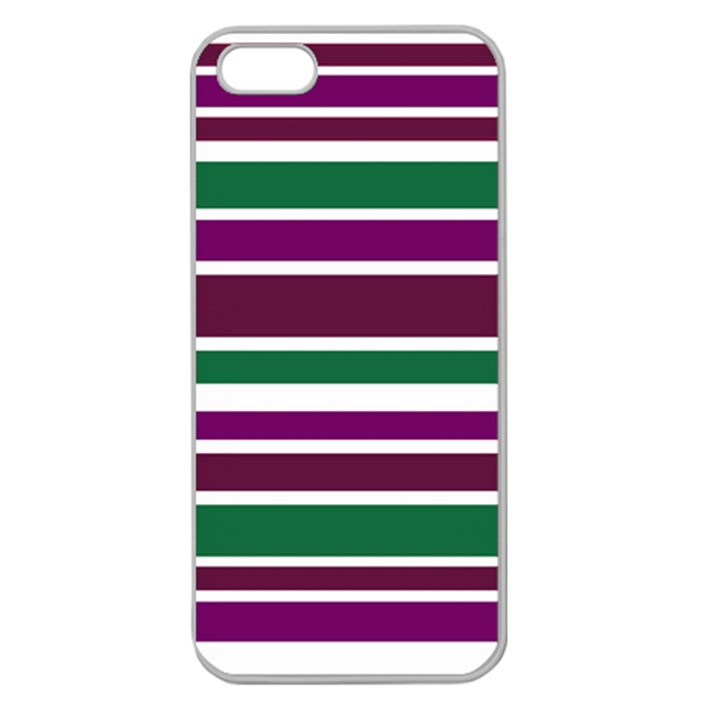 Purple Green Stripes Apple Seamless iPhone 5 Case (Clear)