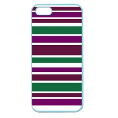 Purple Green Stripes Apple Seamless Iphone 5 Case (color) by BrightVibesDesign