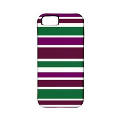 Purple Green Stripes Apple Iphone 5 Classic Hardshell Case (pc+silicone) by BrightVibesDesign