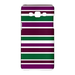Purple Green Stripes Samsung Galaxy A5 Hardshell Case  by BrightVibesDesign