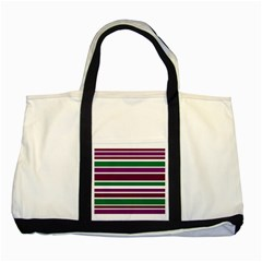 Purple Green Stripes Two Tone Tote Bag by BrightVibesDesign
