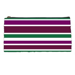 Purple Green Stripes Pencil Cases by BrightVibesDesign
