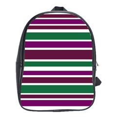 Purple Green Stripes School Bags (xl)  by BrightVibesDesign