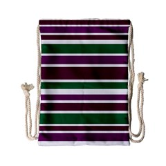 Purple Green Stripes Drawstring Bag (small) by BrightVibesDesign