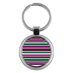 Purple Green Stripes Key Chains (round)  by BrightVibesDesign