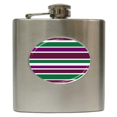 Purple Green Stripes Hip Flask (6 Oz) by BrightVibesDesign