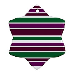 Purple Green Stripes Ornament (snowflake)  by BrightVibesDesign