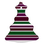 Purple Green Stripes Ornament (Christmas Tree) Front